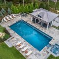 pool and cabana from drone